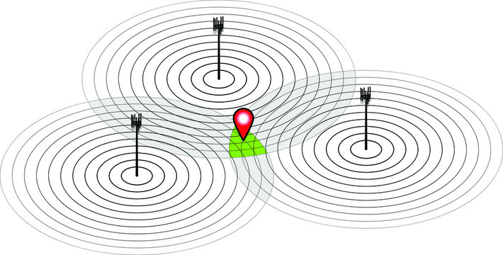 Concept: mobile cell phone tower triangulation. Three cell towers with intersecting signals.