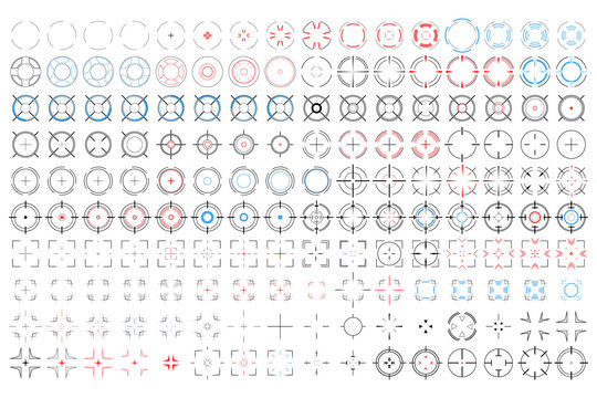 ANIMATED SCIFI target aim crosshair collection. Creative vector illustration of isolated bullseyes, target icon set, animation frames of AIMING, FOCUSING, SHOOTING and LOADING. Shooter assets.