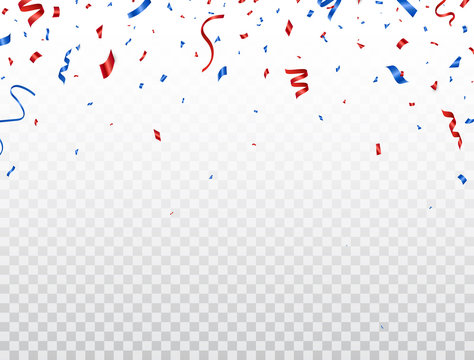 Red and blue celebration confetti falling on transparent background. Happy Independence Day decoration. Usa banner. Bright design elements for Birthday party, invitation, web. Vector illustration
