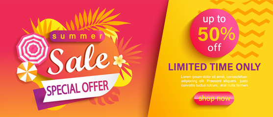 Hot Summer Sale banner, special offer, up to 50 percent limited time discount, promotion,season promo with tropical leaves,sun umbrellas.Invitation for shopping, template for design,flyer.Vector