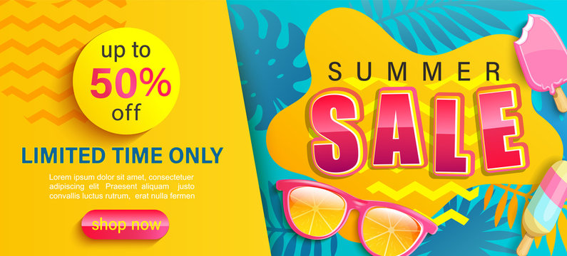 Hot Summer Sale banner,shop now with up to 50 percent limited time discount,season promo with tropical leaf,ice cream,sunglasses.Invitation for shopping,template for design flyer,special offer.Vector