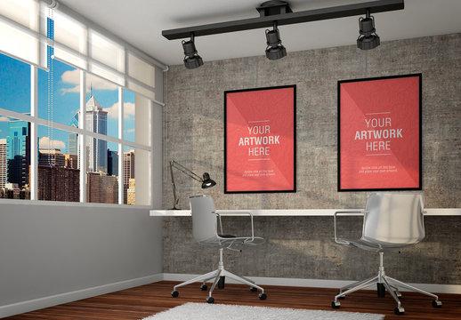 Framed Posters in Office Mockup