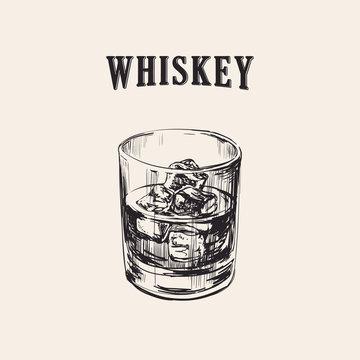 Whiskey Glass Hand Drawn Drink Illustration