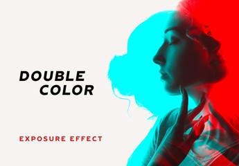 Double Color Exposure Photo Effect Mockup
