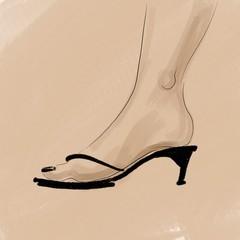 sketch illustration female foot in summer open shoes Design