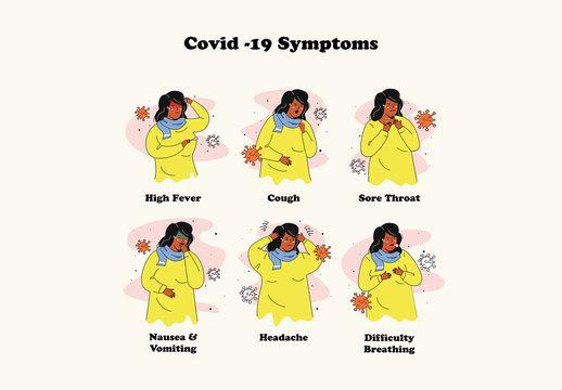 Covid-19 Symptoms and Prevention Graphics Illustration Set