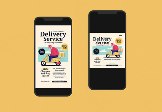 Delivery Service Social Media Post Layouts
