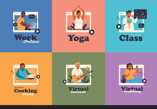 Virtual Activity Graphics Illustration Set