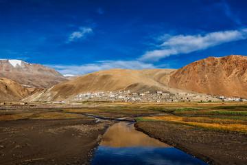 Korzok village and Himalayan lake Tso Moriri on sunrise in the morning, Korzok, Ladakh, India
