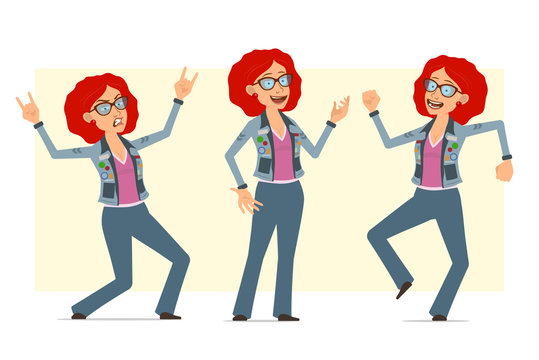 Cartoon flat funny redhead hippie woman character in glasses and jeans jacket. Ready for animation.Girl dancing, jumping and showing rock and roll sign. Isolated on yellow background. Vector set.