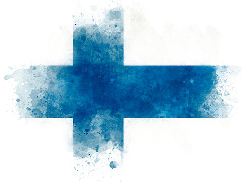Illustration of Finland national flag, watercolor flag of Finland on paper background