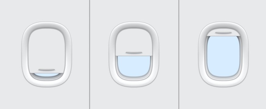 Plane or airplane windows realistic vector mockup of aircraft cabin interior design. Portholes with white plastic frames, closed and open blinds 3d template of passenger aircraft transportation themes