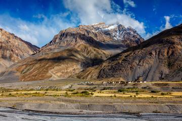 Village in Himalayas in Pin Valley, Himachal Pradesh, India