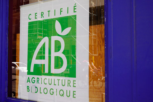 ab agriculture biologique shop sign and logo on french bio store