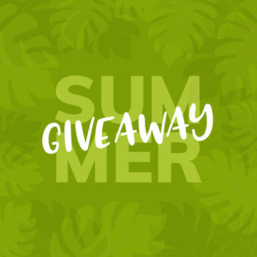 Giveaway summer vector background. Give away freebie contest summer tropical design
