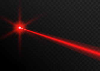 Laser beam red light. Vector laser beam line ray glow effect energy