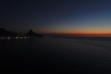 sunrise in Rio de Janeiro, with Favela da Rocinha at view