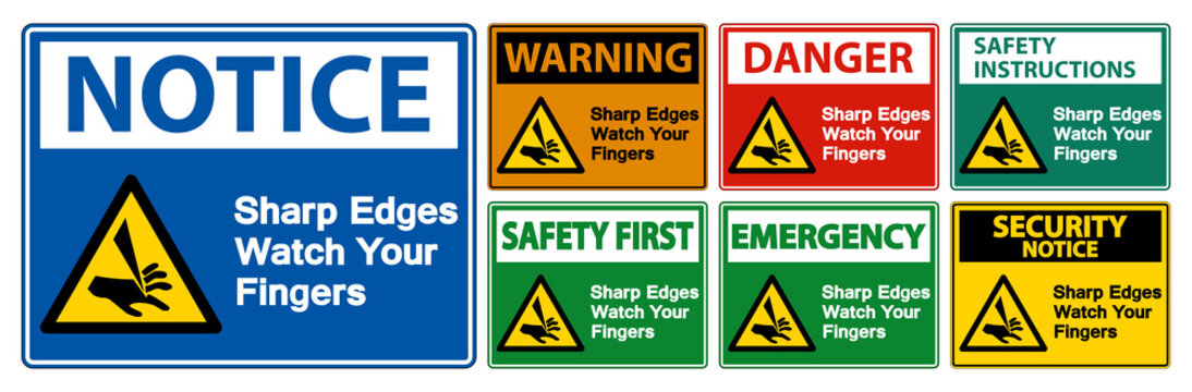 Sharp Edges Watch Your Fingers Symbol Sign Isolate On White Background,Vector Illustration EPS.10