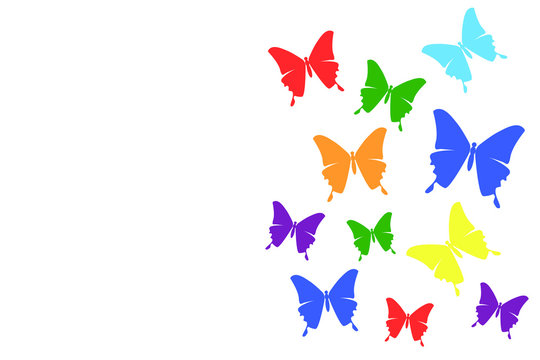 Illustration White background rainbow butterfly transform liberate human right of LGBT freedom concept Proud love to be. To celebrate gay pride, coming out change of true gender and sexuality equality