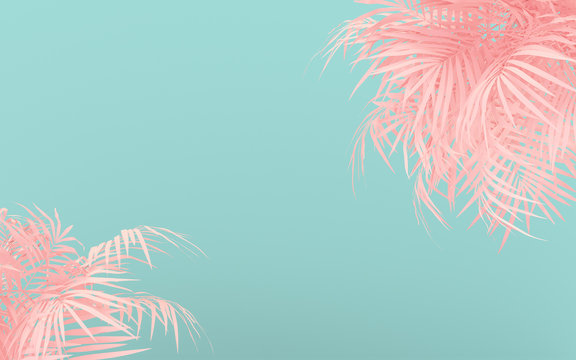 Creative fluorescent color layout made of pink tropical leaves. Flat lay pastel neon colors. Nature concept.  Minimal summer background.