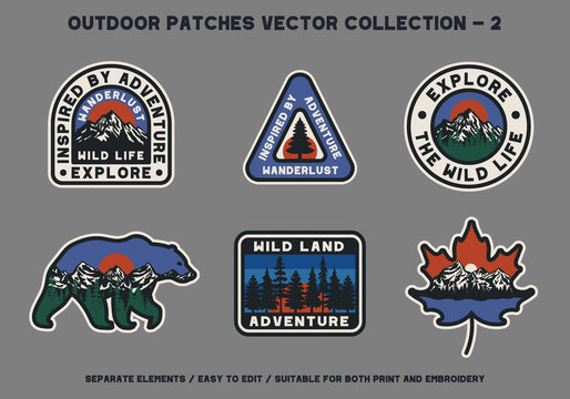 Outdoor Wild Land Adventure Patches Vector Collection For Clothing and Other Uses