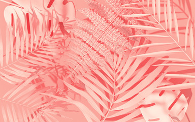 Wall Mural - Exotic plants with geometrical shapes. Tropical layout mockup. Background with painted leaves. Minimal jungle concept art. 3D Render.