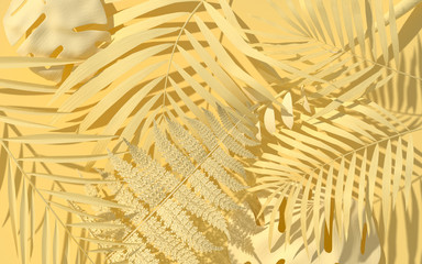 Exotic plants in pastel yellow paint. Tropical layout mockup. Background with painted leaves....