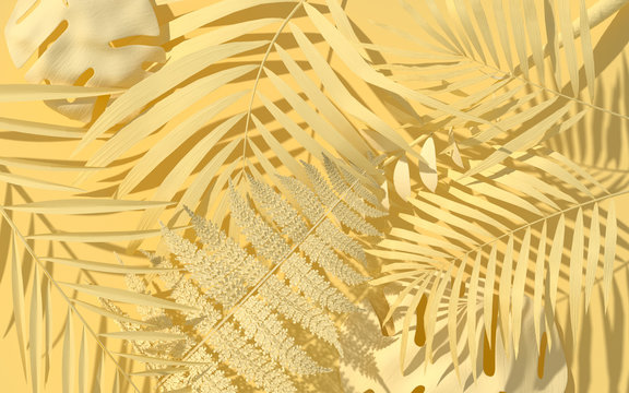Exotic plants in pastel yellow paint. Tropical layout mockup. Background with painted leaves. Minimal jungle concept art. 3D Render.