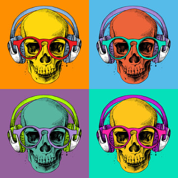 Poster with a portrait of skull wearing headphones and glasses in pop art style. Vector illustration.