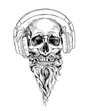 Skull with beard and mustache in a headphones. Vector illustration.