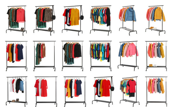 Set of wardrobe racks with different clothes on white background