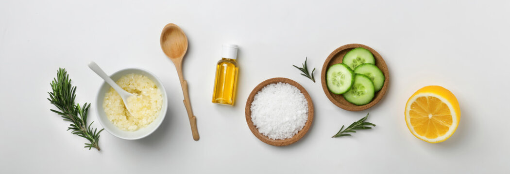 Fresh ingredients for homemade cosmetic product on white background, flat lay. Banner design