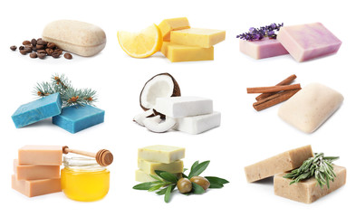 Wall Mural - Set of different soap bars and ingredients on white background