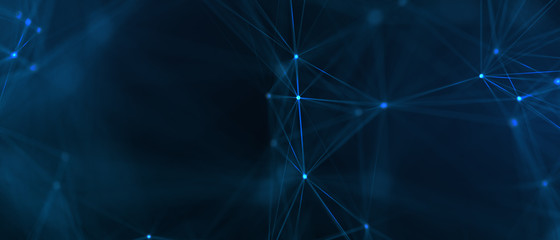 Abstract futuristic - technology with polygonal shapes on dark blue background. Design digital...