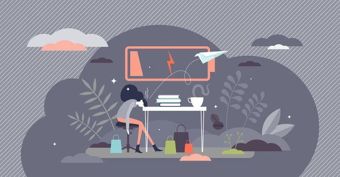 Burnout female vector illustration. Low energy workplace tiny person concept