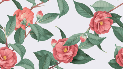Floral seamless pattern, red Semi-double Camellia flowers with leaves on bright grey