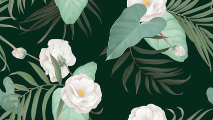 Floral seamless pattern, white Semi-double Camellia flowers with various leaves on dark green
