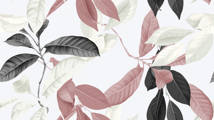 Foliage seamless pattern, various leaves in brown, black and white on bright grey