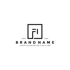 letter FI logo design vector