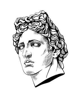 Bust of Apollo, the ancient Greek god. Linear contour sketch of marble greece or rome statue. Ink line drawing art sculpture. Plaster head of face man in engraving style. Vector stock illustration.