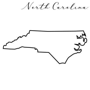 Vector high quality map of the American state of North Carolina simple hand made line drawing map