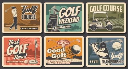 Golf sport vector clubs, balls and tees, flags and holes on green grass course with players or golfers and cart, winner trophy cup and bag. Golf club retro posters of championship tournament
