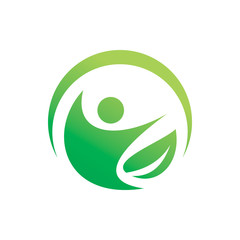 green nature leaf people healthy active logo design