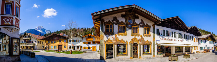 Mittenwald, Germany - April 7: famous old town with historic buildings in Mittenwald on April 7, 2020