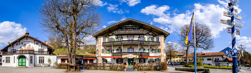 Schliersee, Germany - April 9: famous old town with typical historic bavarian houses in schliersee,  on April 9, 2020
