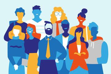 Squadra di professionisti creativi fatta di uomini e donne Wall mural