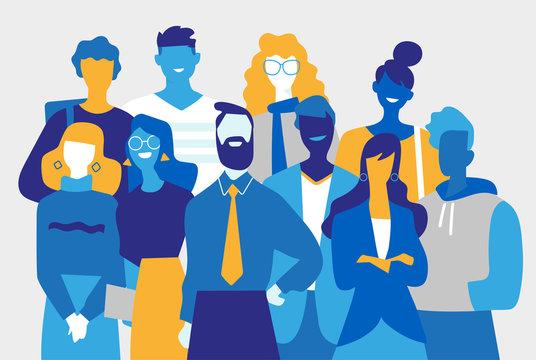 Squadra di professionisti creativi fatta di uomini e donne