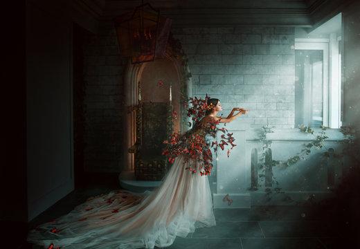 Artwork photo. Image gothic queen. black orange monarch butterflies. Dark room of castle, golden throne, magic sun rays from window. Creative dress Long train peach silk skirt. Glamour fantasy woman