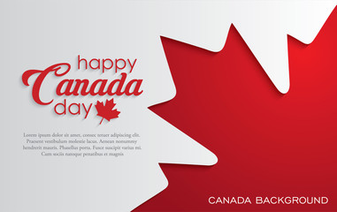 Happy Canada Day background with red maple leaf. vector illustration. paper art style