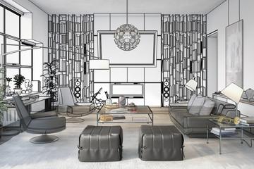 Modern Flat Furnishing (planning) - 3d illustration